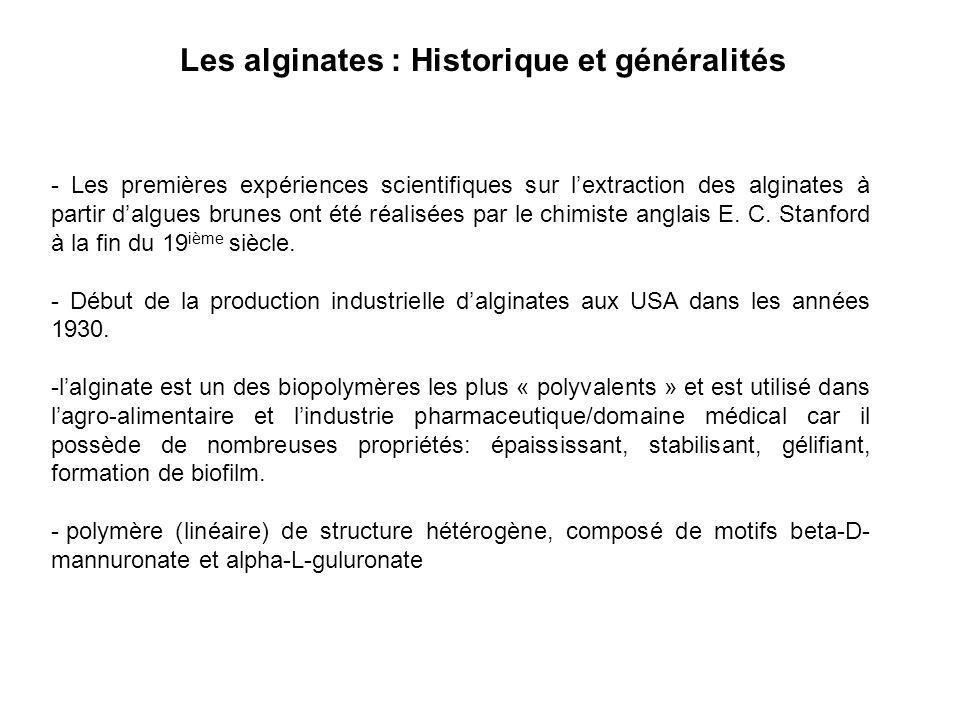 Les alginates : Historique et généralités - Les premières expériences scientifiques sur lextraction des alginates à partir dalgues brunes ont été réal