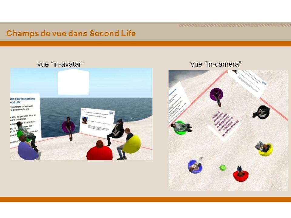 Champs de vue dans Second Life vue in-avatar vue in-camera