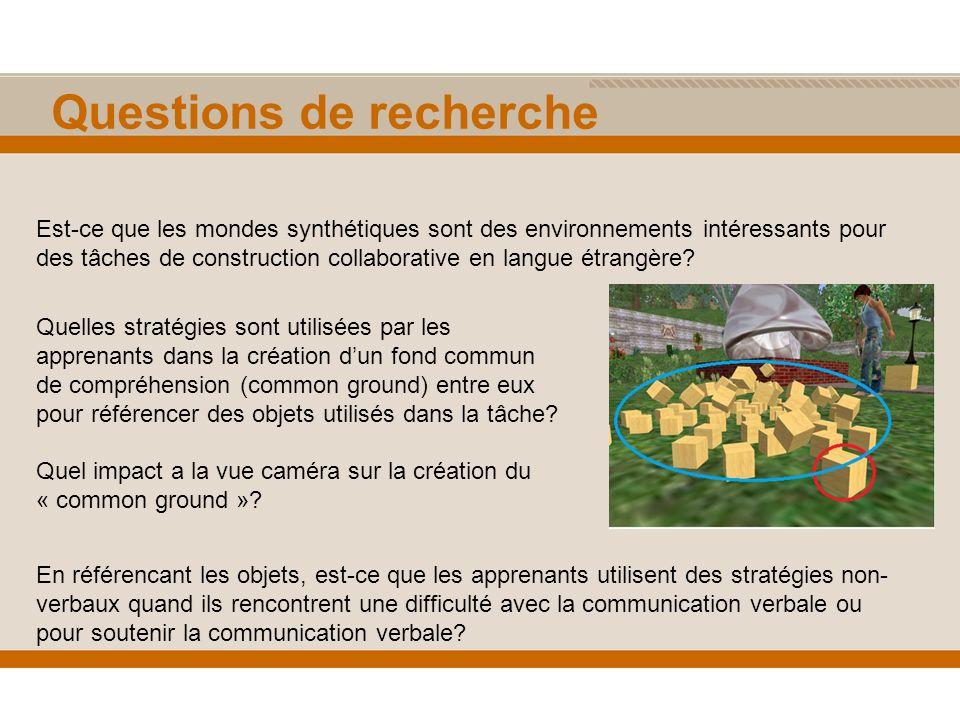 Questions de recherche Est-ce que les mondes synthétiques sont des environnements intéressants pour des tâches de construction collaborative en langue étrangère.