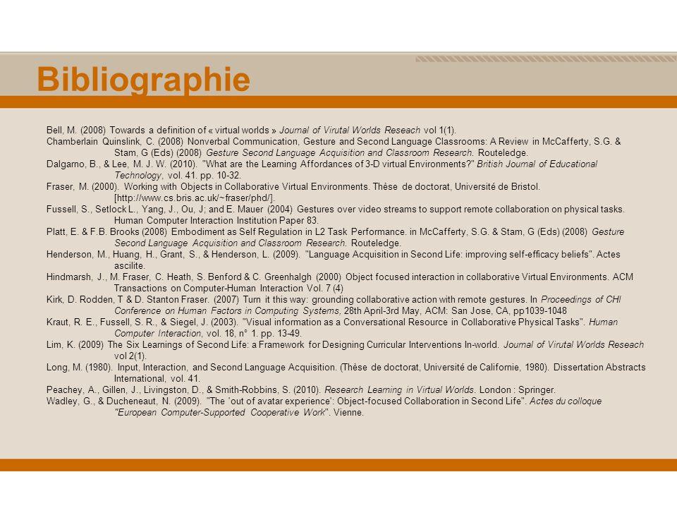 Bibliographie Bell, M.