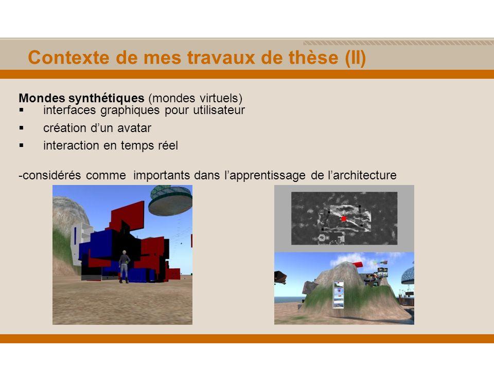 Contexte de mes travaux de thèse (II) Mondes synthétiques (mondes virtuels) interfaces graphiques pour utilisateur création dun avatar interaction en temps réel -considérés comme importants dans lapprentissage de larchitecture