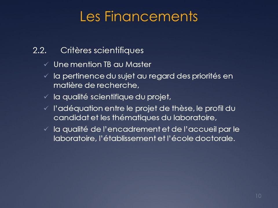 Les Financements 2.2. Critères scientifiques Une mention TB au Master la pertinence du sujet au regard des priorités en matière de recherche, la quali
