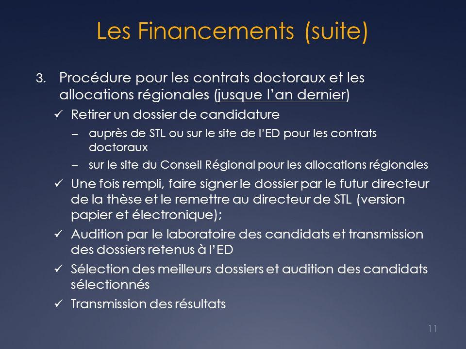 Les Financements (suite) 3. Procédure pour les contrats doctoraux et les allocations régionales (jusque lan dernier) Retirer un dossier de candidature