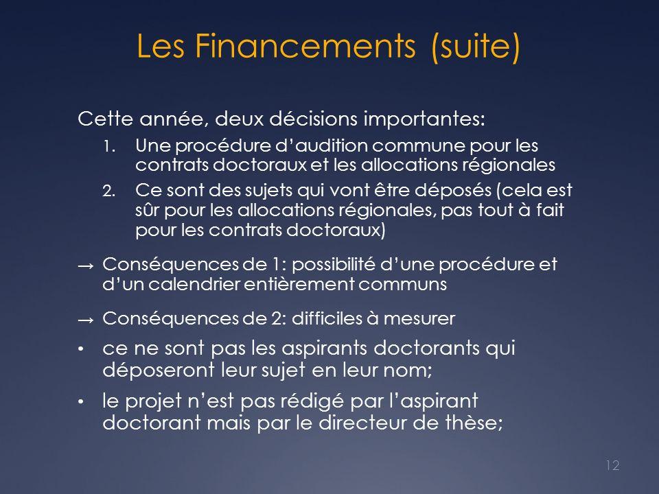 Les Financements (suite) Cette année, deux décisions importantes: 1. Une procédure daudition commune pour les contrats doctoraux et les allocations ré