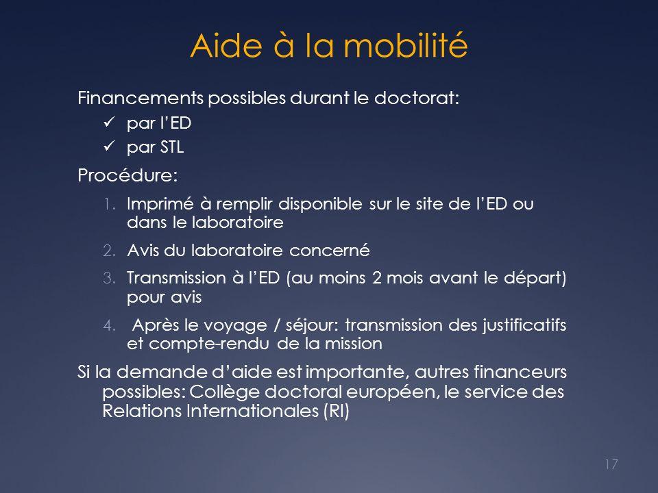 Aide à la mobilité Financements possibles durant le doctorat: par lED par STL Procédure: 1. Imprimé à remplir disponible sur le site de lED ou dans le