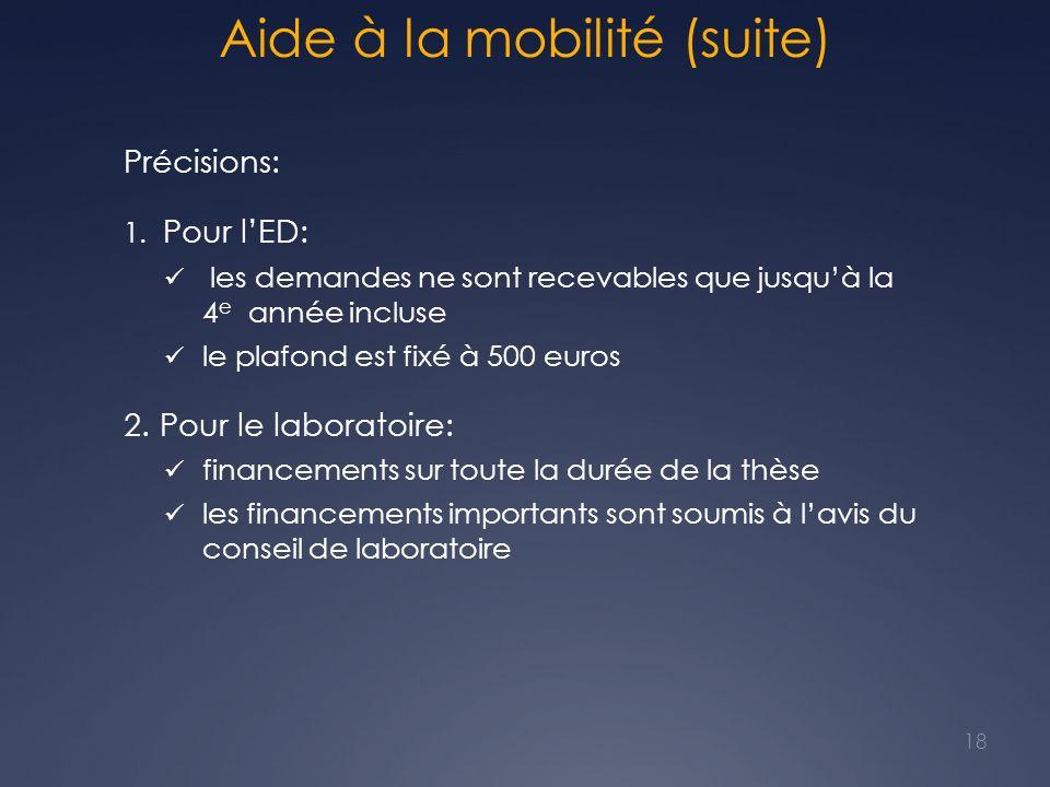 Aide à la mobilité (suite) Précisions: 1. Pour lED: les demandes ne sont recevables que jusquà la 4 e année incluse le plafond est fixé à 500 euros 2.