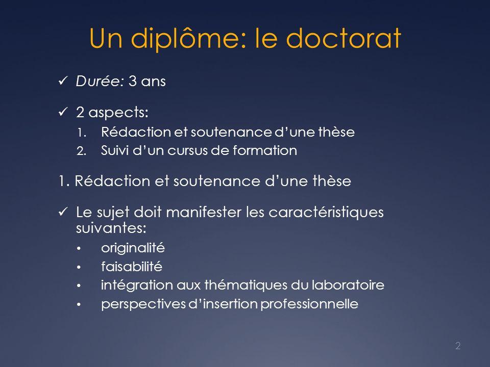 Un diplôme: le doctorat Durée: 3 ans 2 aspects: 1. Rédaction et soutenance dune thèse 2. Suivi dun cursus de formation 1. Rédaction et soutenance dune