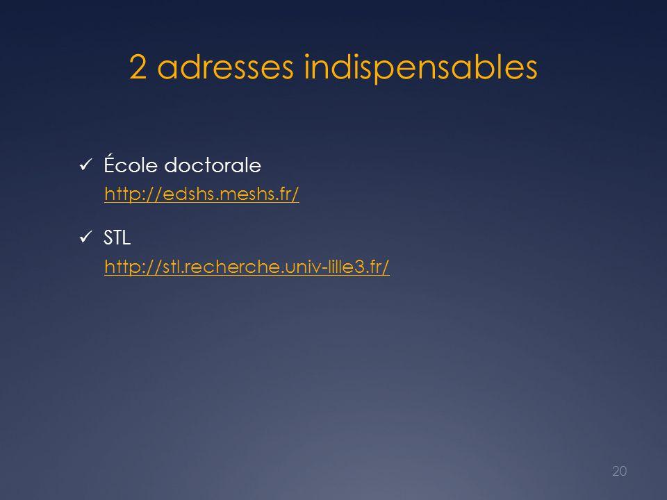 2 adresses indispensables École doctorale http://edshs.meshs.fr/ STL http://stl.recherche.univ-lille3.fr/ 20