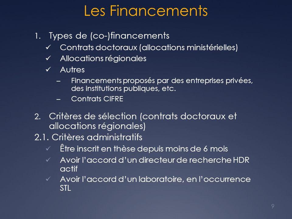 Les Financements 1. Types de (co-)financements Contrats doctoraux (allocations ministérielles) Allocations régionales Autres – Financements proposés p