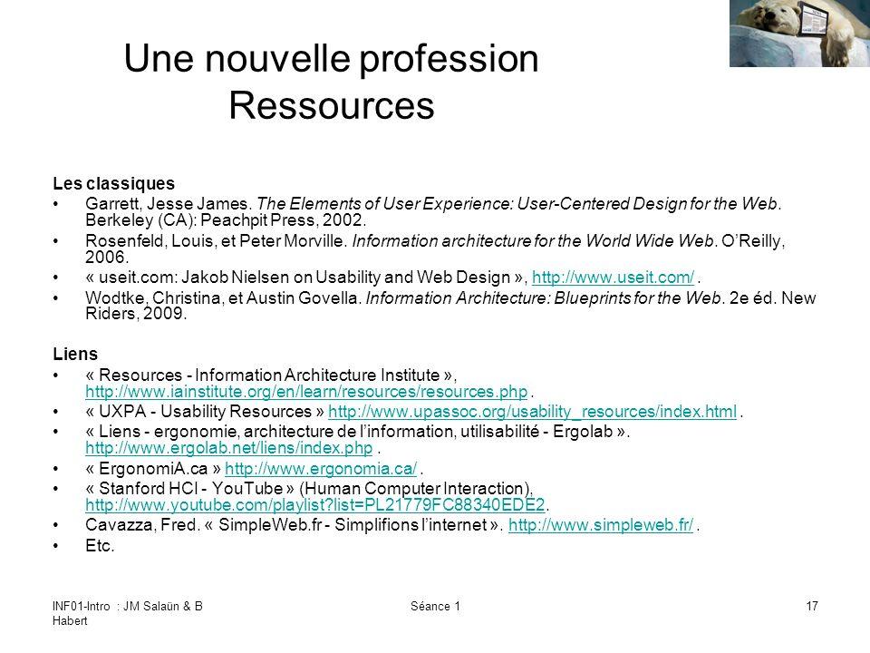 INF01-Intro : JM Salaün & B Habert Séance 117 Une nouvelle profession Ressources Les classiques Garrett, Jesse James.