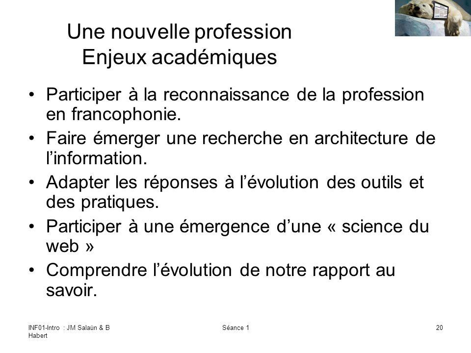 INF01-Intro : JM Salaün & B Habert Séance 120 Une nouvelle profession Enjeux académiques Participer à la reconnaissance de la profession en francophonie.