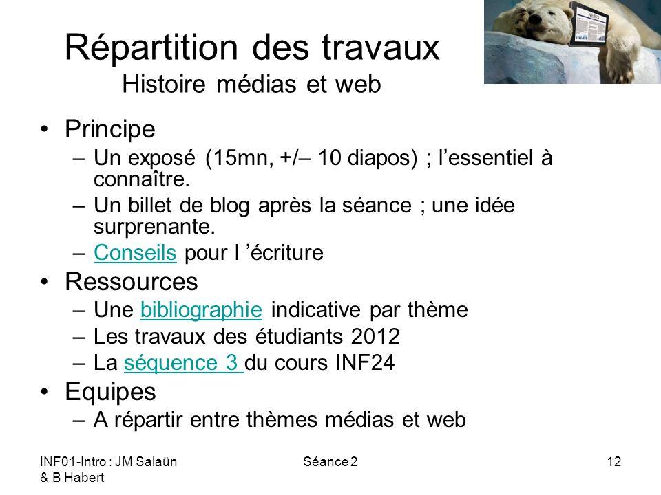 INF01-Intro : JM Salaün & B Habert Séance 212 Répartition des travaux Histoire médias et web Principe –Un exposé (15mn, +/– 10 diapos) ; lessentiel à