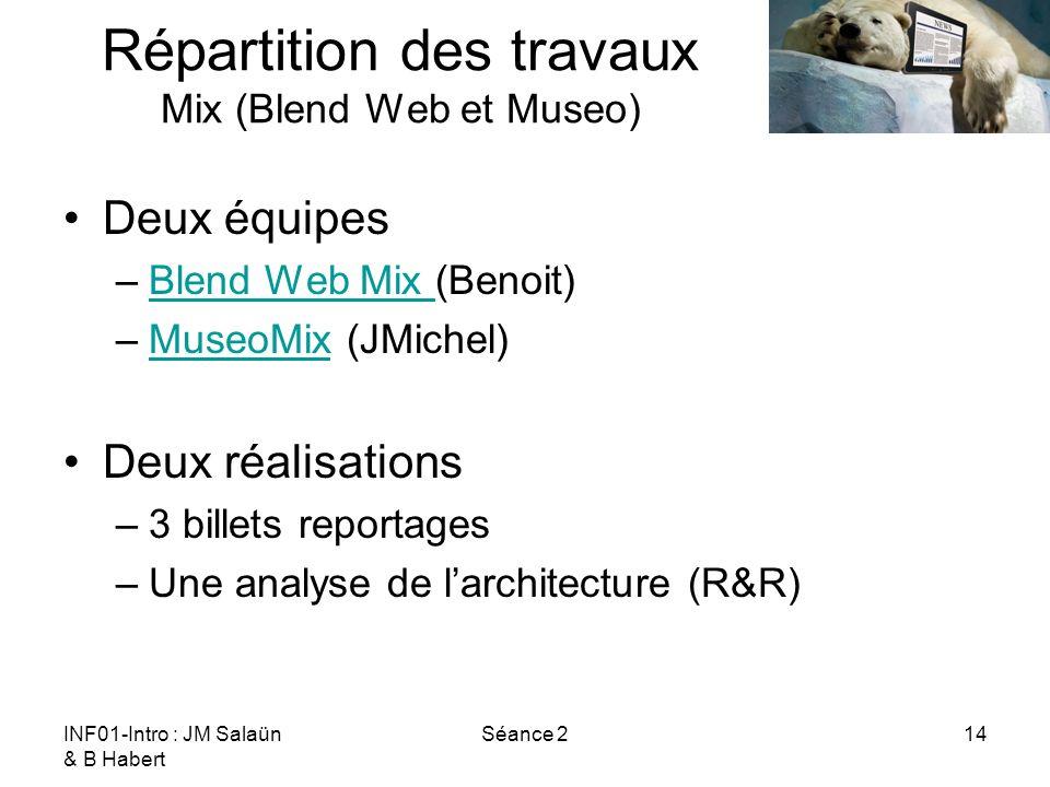 INF01-Intro : JM Salaün & B Habert Séance 214 Répartition des travaux Mix (Blend Web et Museo) Deux équipes –Blend Web Mix (Benoit)Blend Web Mix –Muse