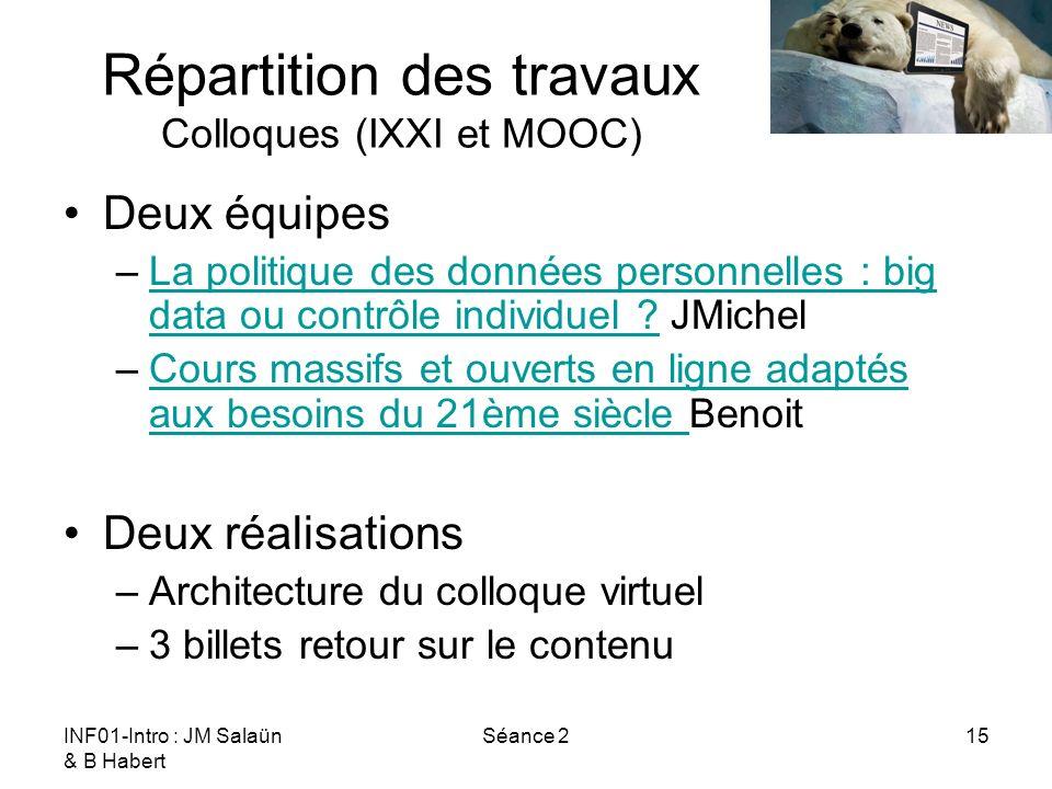 INF01-Intro : JM Salaün & B Habert Séance 215 Répartition des travaux Colloques (IXXI et MOOC) Deux équipes –La politique des données personnelles : b