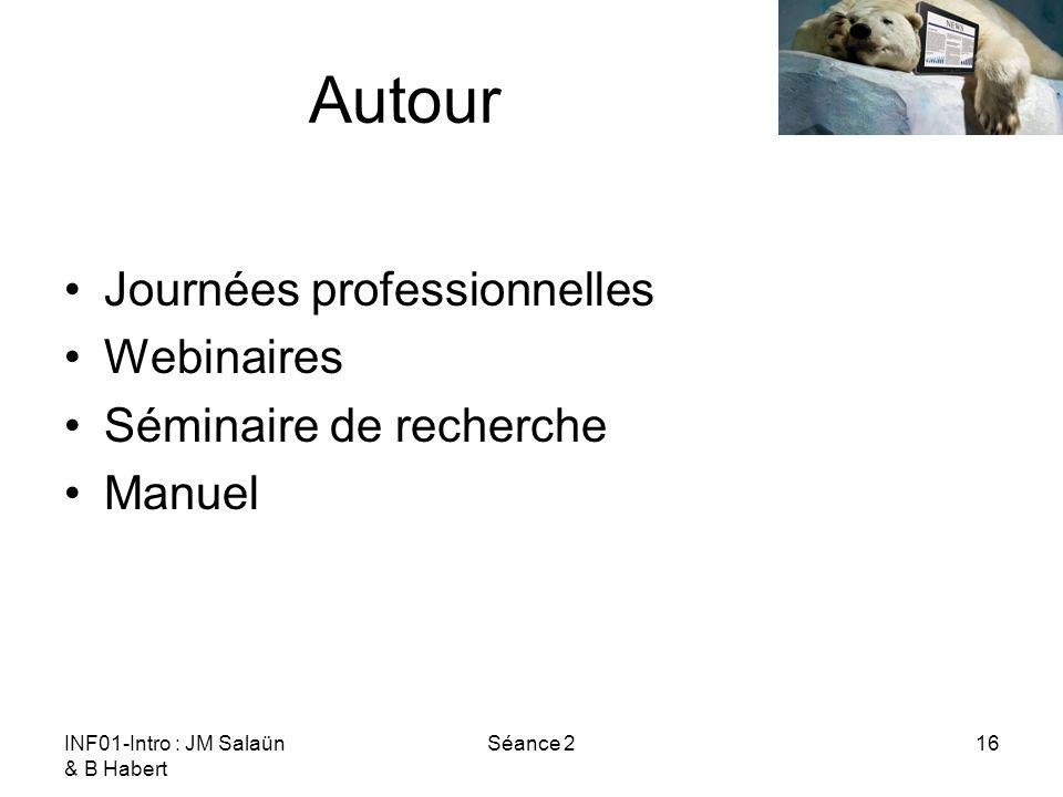 INF01-Intro : JM Salaün & B Habert Séance 216 Autour Journées professionnelles Webinaires Séminaire de recherche Manuel