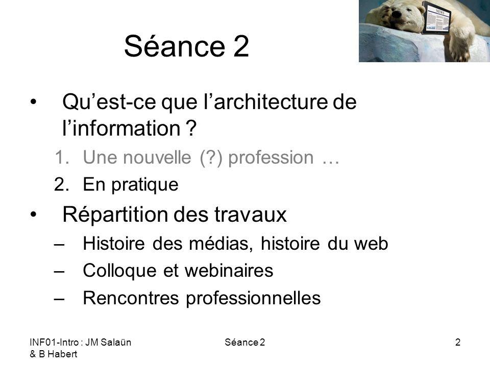 INF01-Intro : JM Salaün & B Habert Séance 22 Quest-ce que larchitecture de linformation ? 1.Une nouvelle (?) profession … 2.En pratique Répartition de