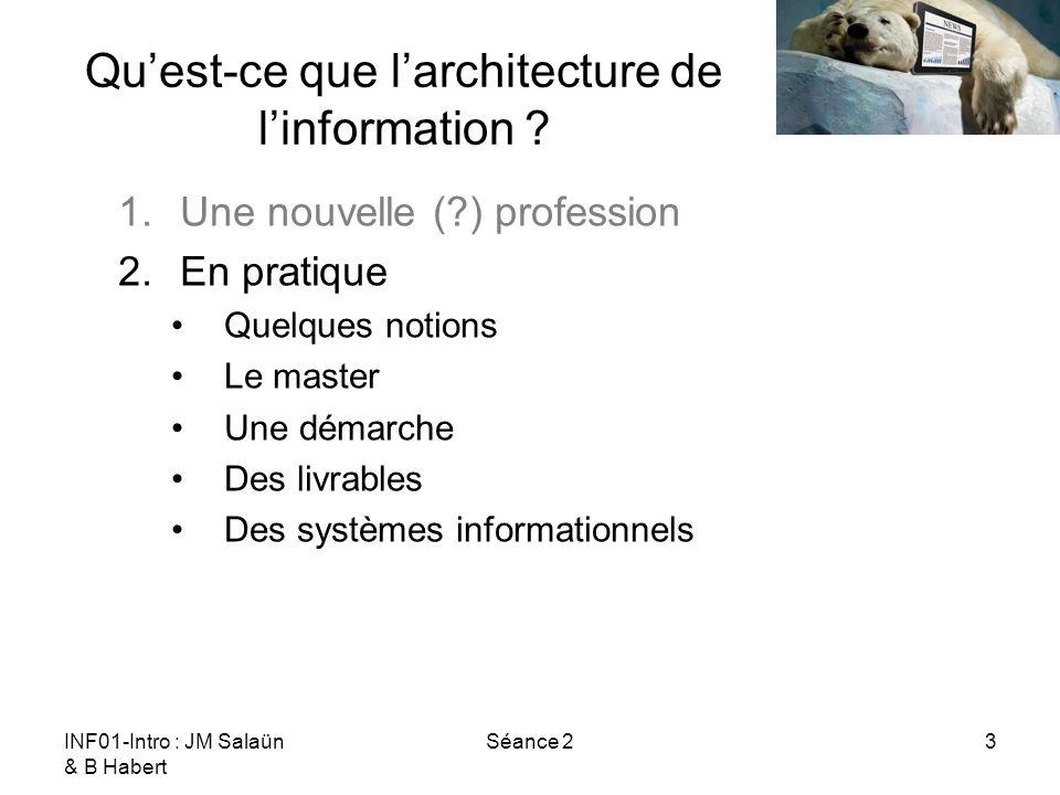 INF01-Intro : JM Salaün & B Habert Séance 23 Quest-ce que larchitecture de linformation ? 1.Une nouvelle (?) profession 2.En pratique Quelques notions