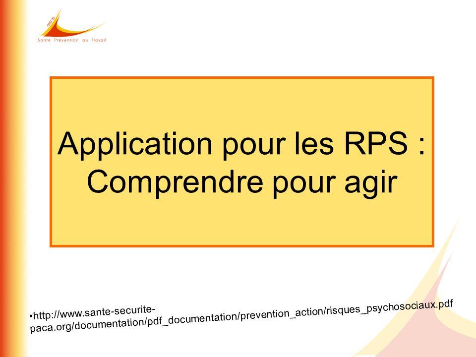 Application pour les RPS : Comprendre pour agir http://www.sante-securite- paca.org/documentation/pdf_documentation/prevention_action/risques_psychoso