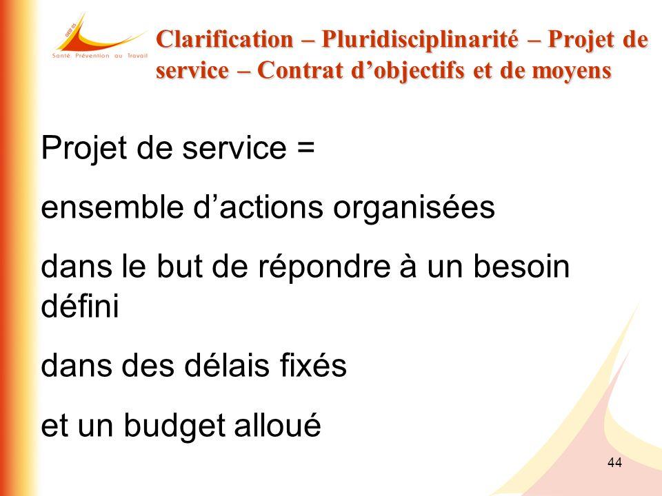 44 Clarification – Pluridisciplinarité – Projet de service – Contrat dobjectifs et de moyens Projet de service = ensemble dactions organisées dans le
