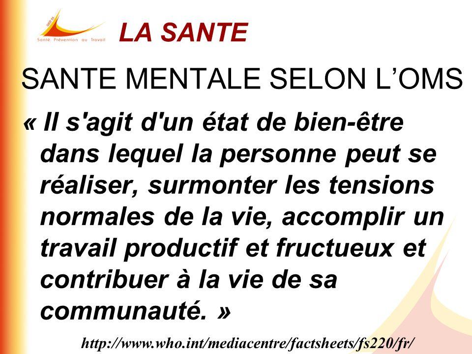 SANTE MENTALE SELON LOMS « Il s'agit d'un état de bien-être dans lequel la personne peut se réaliser, surmonter les tensions normales de la vie, accom