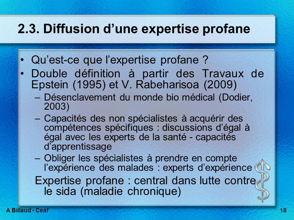 18A Billaud - Ceaf 2.3. Diffusion dune expertise profane Quest-ce que lexpertise profane ? Double définition à partir des Travaux de Epstein (1995) et