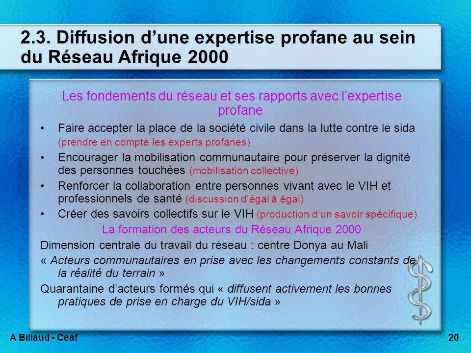 20A Billaud - Ceaf 2.3. Diffusion dune expertise profane au sein du Réseau Afrique 2000 Les fondements du réseau et ses rapports avec lexpertise profa