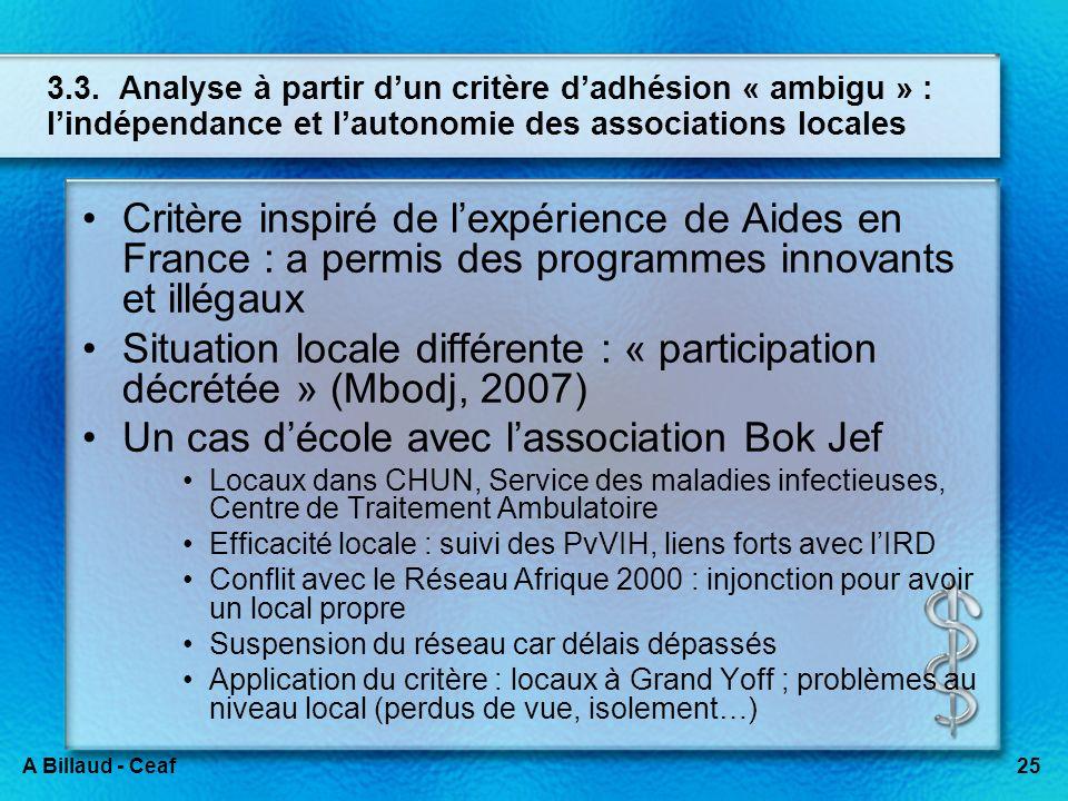 25A Billaud - Ceaf 3.3. Analyse à partir dun critère dadhésion « ambigu » : lindépendance et lautonomie des associations locales Critère inspiré de le
