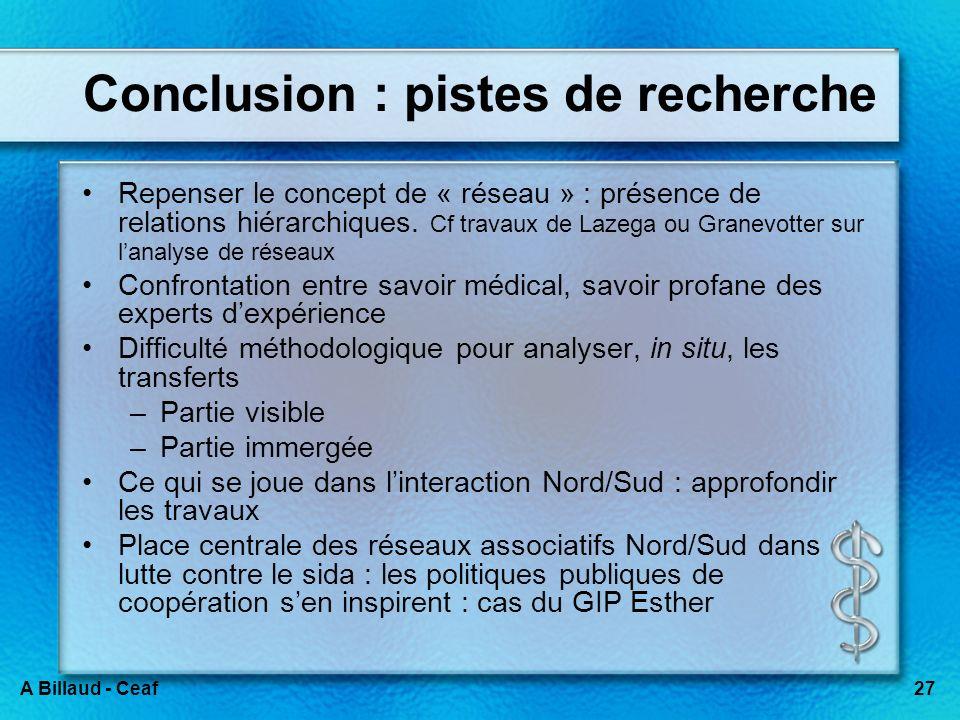 27A Billaud - Ceaf Conclusion : pistes de recherche Repenser le concept de « réseau » : présence de relations hiérarchiques. Cf travaux de Lazega ou G