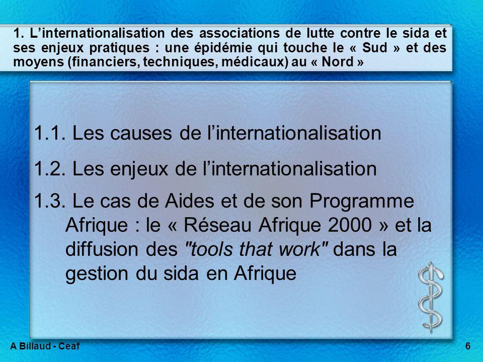 6A Billaud - Ceaf 1. Linternationalisation des associations de lutte contre le sida et ses enjeux pratiques : une épidémie qui touche le « Sud » et de