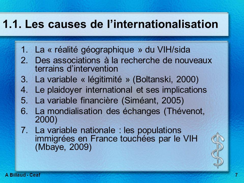 7A Billaud - Ceaf 1.1. Les causes de linternationalisation 1.La « réalité géographique » du VIH/sida 2.Des associations à la recherche de nouveaux ter