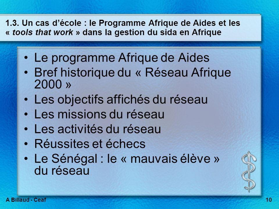 10A Billaud - Ceaf 1.3. Un cas décole : le Programme Afrique de Aides et les « tools that work » dans la gestion du sida en Afrique Le programme Afriq