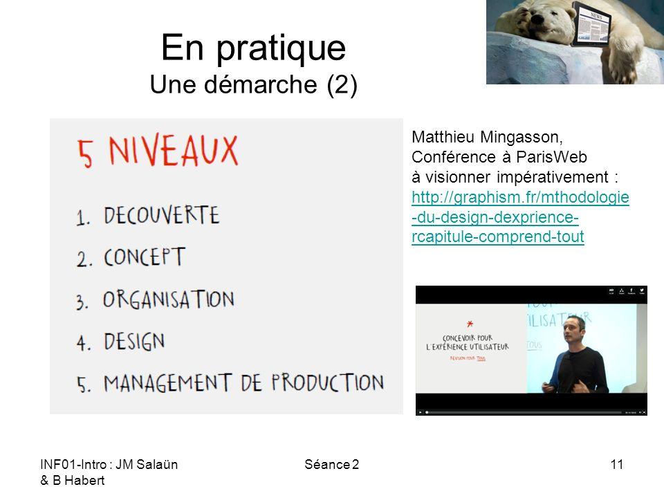 INF01-Intro : JM Salaün & B Habert Séance 211 En pratique Une démarche (2) Matthieu Mingasson, Conférence à ParisWeb à visionner impérativement : http://graphism.fr/mthodologie -du-design-dexprience- rcapitule-comprend-tout