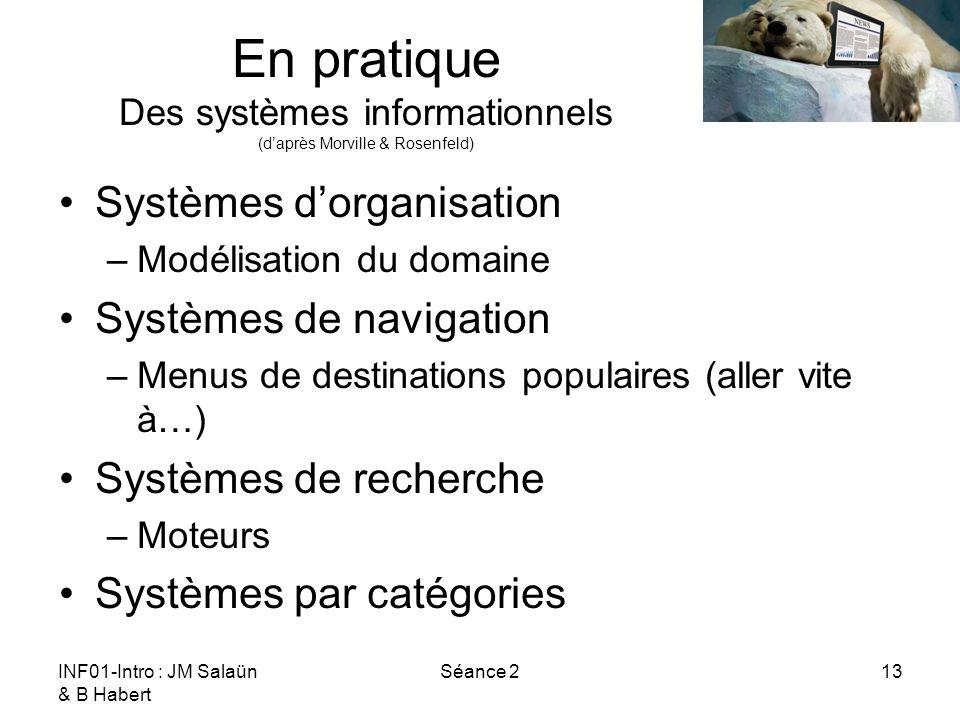INF01-Intro : JM Salaün & B Habert Séance 213 En pratique Des systèmes informationnels (daprès Morville & Rosenfeld) Systèmes dorganisation –Modélisation du domaine Systèmes de navigation –Menus de destinations populaires (aller vite à…) Systèmes de recherche –Moteurs Systèmes par catégories