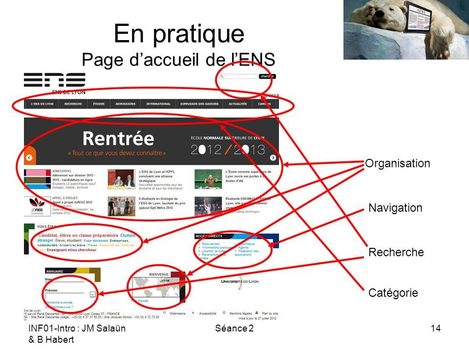 INF01-Intro : JM Salaün & B Habert Séance 214 En pratique Page daccueil de lENS Navigation Organisation Recherche Catégorie