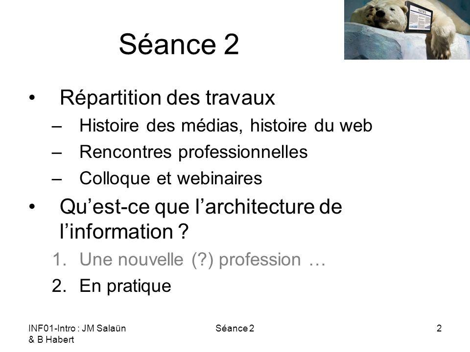 INF01-Intro : JM Salaün & B Habert Séance 22 Répartition des travaux –Histoire des médias, histoire du web –Rencontres professionnelles –Colloque et webinaires Quest-ce que larchitecture de linformation .