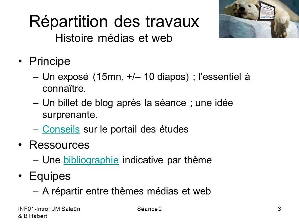 INF01-Intro : JM Salaün & B Habert Séance 24 Répartition des travaux Histoire médias et web Thèmes sur lhistoire des médias –Histoire de limprimé.
