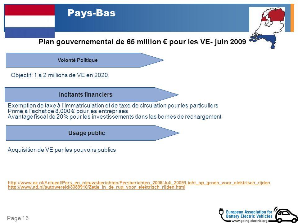 Page 16 Pays-Bas Plan gouvernemental de 65 million pour les VE- juin 2009 Volonté Politique Incitants financiers Exemption de taxe à l immatriculation et de taxe de circulation pour les particuliers Prime à l achat de 8.000 pour les entreprises Avantage fiscal de 20% pour les investissements dans les bornes de rechargement Acquisition de VE par les pouvoirs publics http://www.ez.nl/Actueel/Pers_en_nieuwsberichten/Persberichten_2009/Juli_2009/Licht_op_groen_voor_elektrisch_rijden http://www.ad.nl/autowereld/3389910/Zetje_in_de_rug_voor_elektrisch_rijden.html Objectif: 1 à 2 millions de VE en 2020.