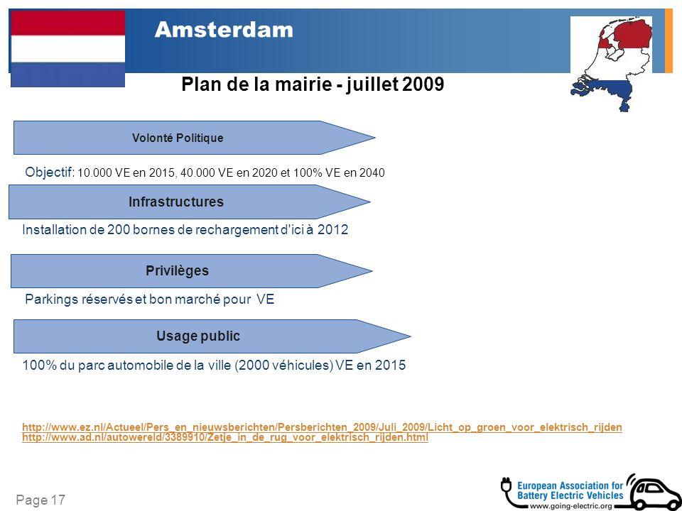 Page 17 Amsterdam Plan de la mairie - juillet 2009 Infrastructures Volonté Politique Privilèges Installation de 200 bornes de rechargement d ici à 2012 100% du parc automobile de la ville (2000 véhicules) VE en 2015 http://www.ez.nl/Actueel/Pers_en_nieuwsberichten/Persberichten_2009/Juli_2009/Licht_op_groen_voor_elektrisch_rijden http://www.ad.nl/autowereld/3389910/Zetje_in_de_rug_voor_elektrisch_rijden.html Objectif: 10.000 VE en 2015, 40.000 VE en 2020 et 100% VE en 2040 Parkings réservés et bon marché pour VE Usage public