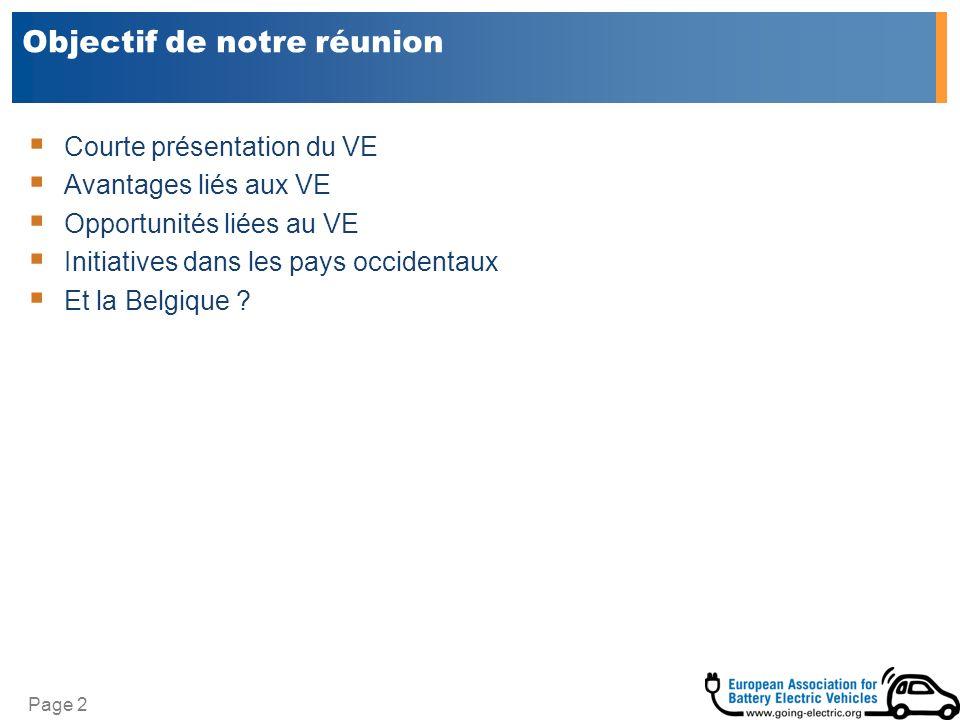 Page 2 Objectif de notre réunion Courte présentation du VE Avantages liés aux VE Opportunités liées au VE Initiatives dans les pays occidentaux Et la