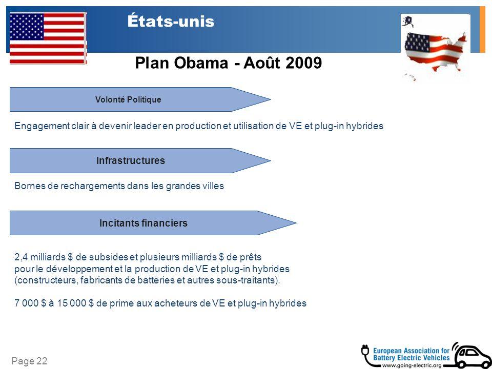 Page 22 États-unis Infrastructures Volonté Politique Incitants financiers 2,4 milliards $ de subsides et plusieurs milliards $ de prêts pour le dévelo