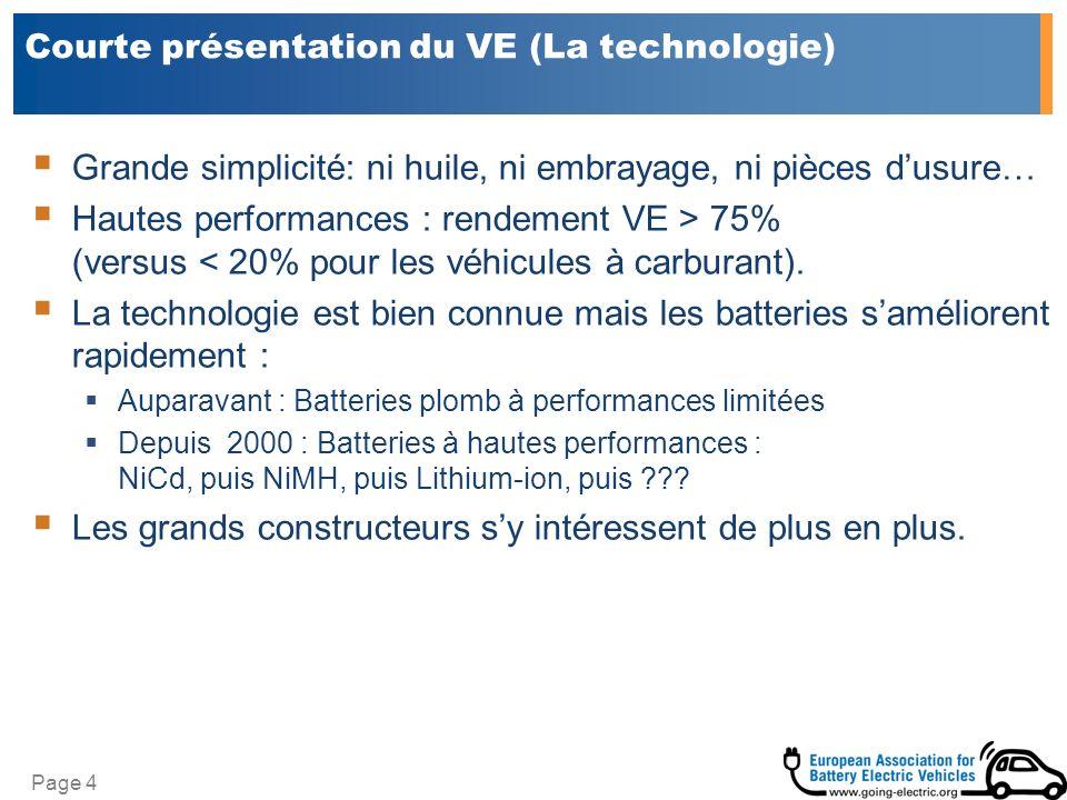 Page 4 Courte présentation du VE (La technologie) Grande simplicité: ni huile, ni embrayage, ni pièces dusure… Hautes performances : rendement VE > 75% (versus < 20% pour les véhicules à carburant).
