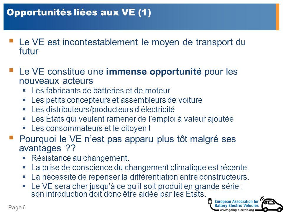 Page 6 Opportunités liées aux VE (1) Le VE est incontestablement le moyen de transport du futur Le VE constitue une immense opportunité pour les nouve