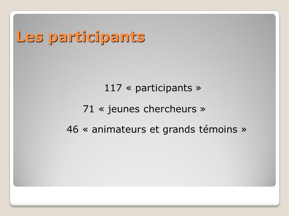 Les participants 117 « participants » 71 « jeunes chercheurs » 46 « animateurs et grands témoins »