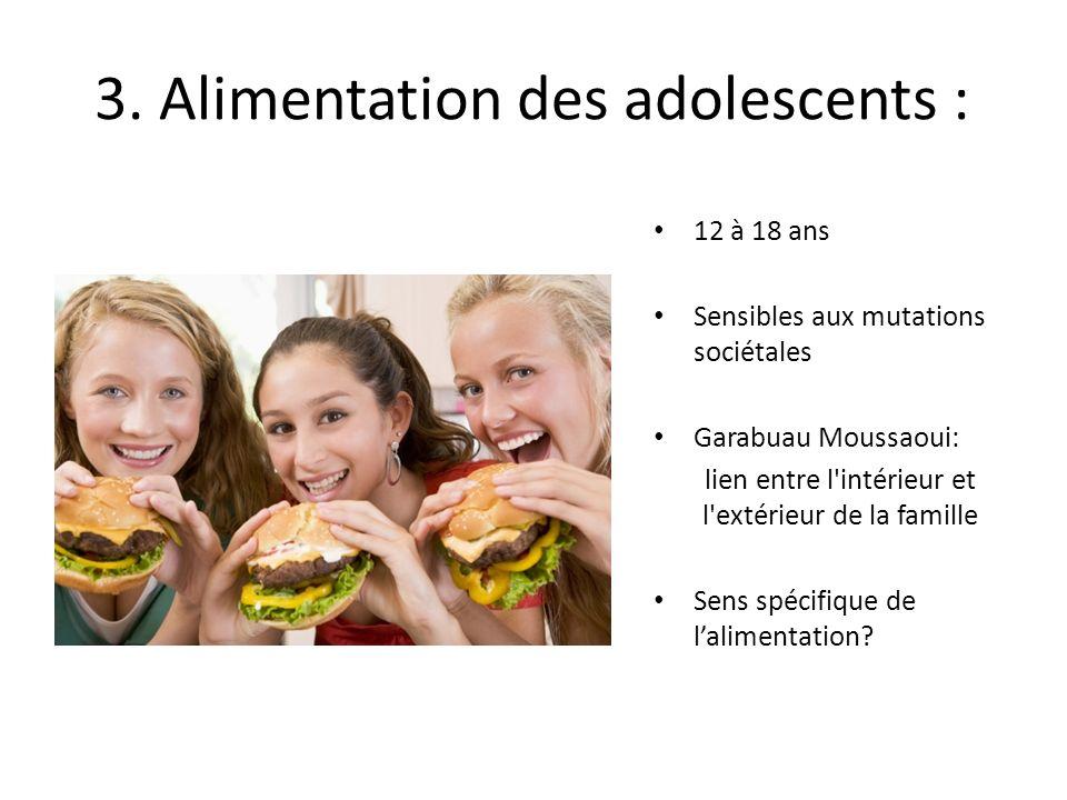 3. Alimentation des adolescents : 12 à 18 ans Sensibles aux mutations sociétales Garabuau Moussaoui: lien entre l'intérieur et l'extérieur de la famil