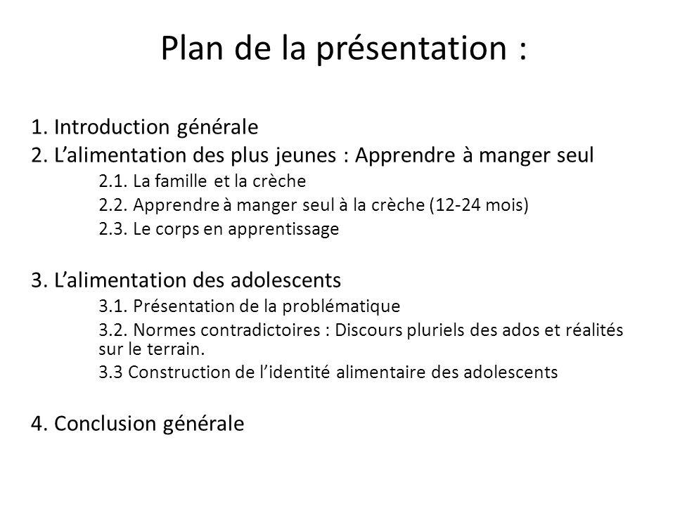 Plan de la présentation : 1. Introduction générale 2. Lalimentation des plus jeunes : Apprendre à manger seul 2.1. La famille et la crèche 2.2. Appren