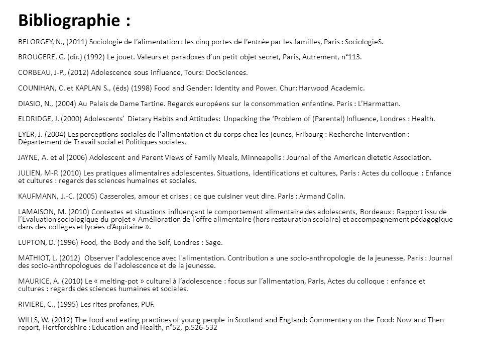 Bibliographie : BELORGEY, N., (2011) Sociologie de lalimentation : les cinq portes de lentrée par les familles, Paris : SociologieS. BROUGERE, G. (dir