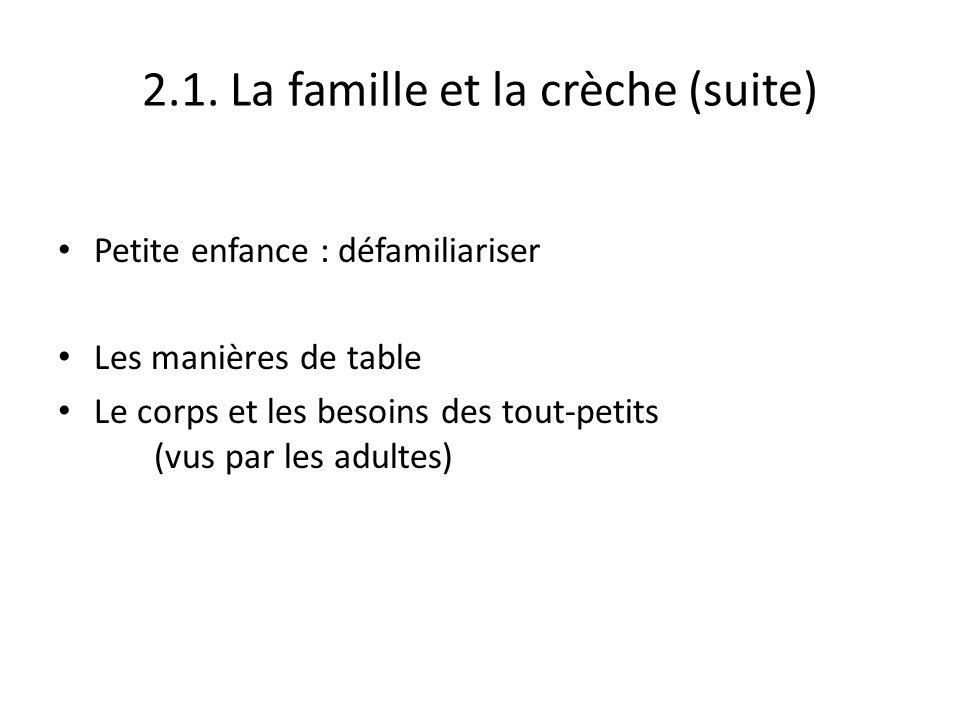 2.1. La famille et la crèche (suite) Petite enfance : défamiliariser Les manières de table Le corps et les besoins des tout-petits (vus par les adulte