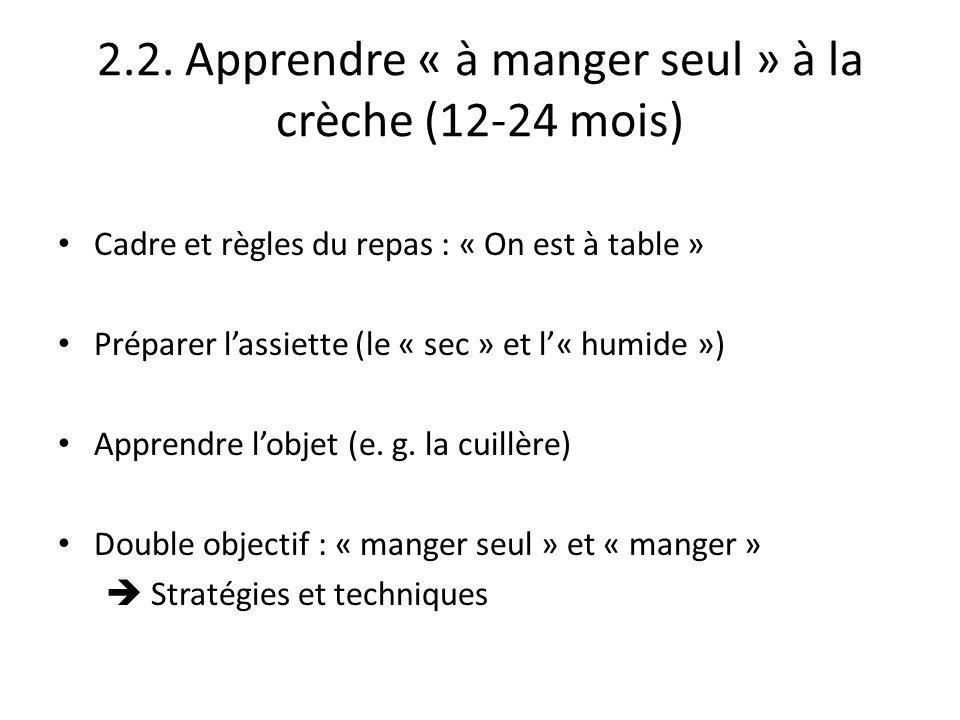 2.2. Apprendre « à manger seul » à la crèche (12-24 mois) Cadre et règles du repas : « On est à table » Préparer lassiette (le « sec » et l« humide »)