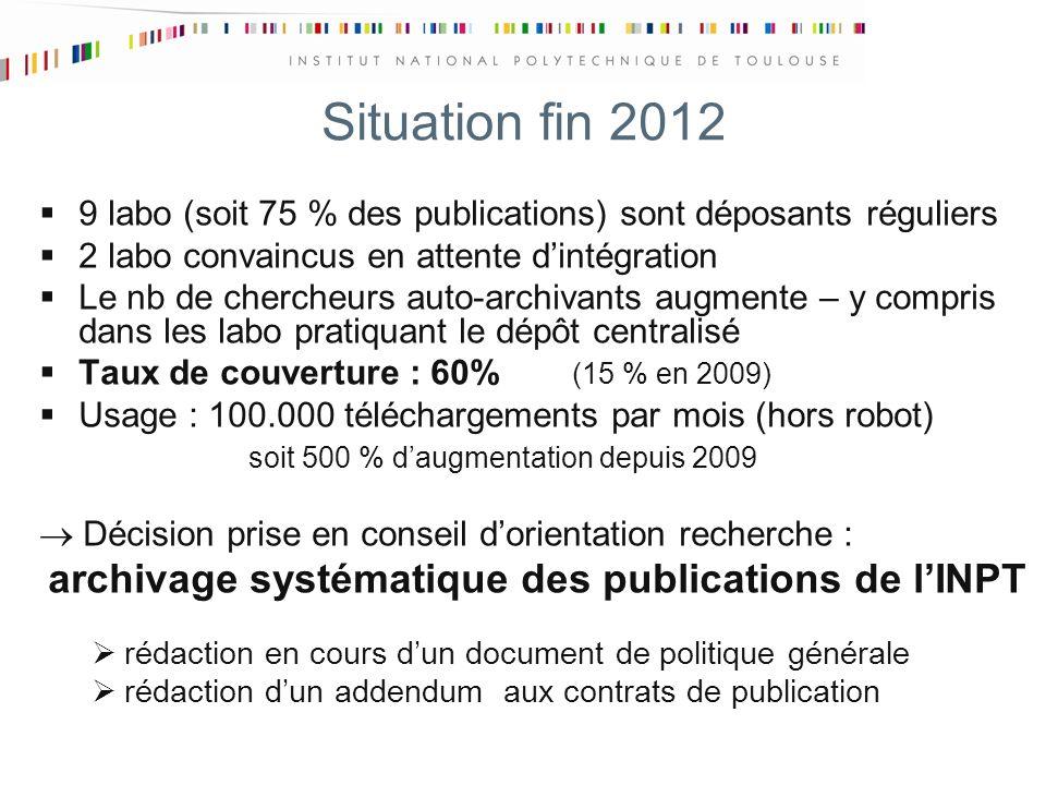 Situation fin 2012 9 labo (soit 75 % des publications) sont déposants réguliers 2 labo convaincus en attente dintégration Le nb de chercheurs auto-archivants augmente – y compris dans les labo pratiquant le dépôt centralisé Taux de couverture : 60% (15 % en 2009) Usage : 100.000 téléchargements par mois (hors robot) soit 500 % daugmentation depuis 2009 Décision prise en conseil dorientation recherche : archivage systématique des publications de lINPT rédaction en cours dun document de politique générale rédaction dun addendum aux contrats de publication