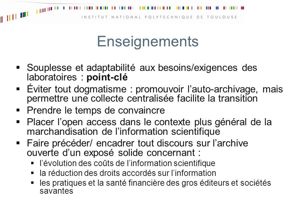 Enseignements Souplesse et adaptabilité aux besoins/exigences des laboratoires : point-clé Éviter tout dogmatisme : promouvoir lauto-archivage, mais p